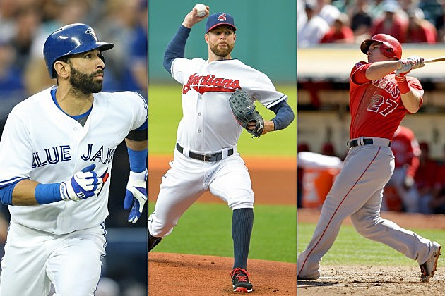 Jose Bautista, Corey Kluber, Mike Trout