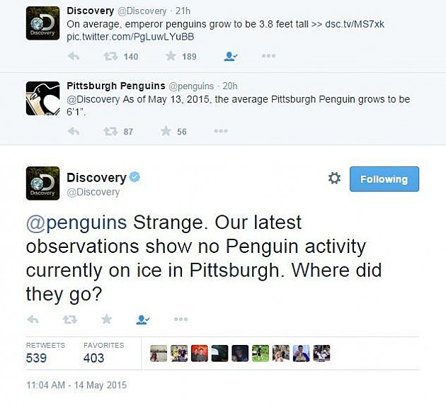 Penguins vs Discovery Twitter exchange